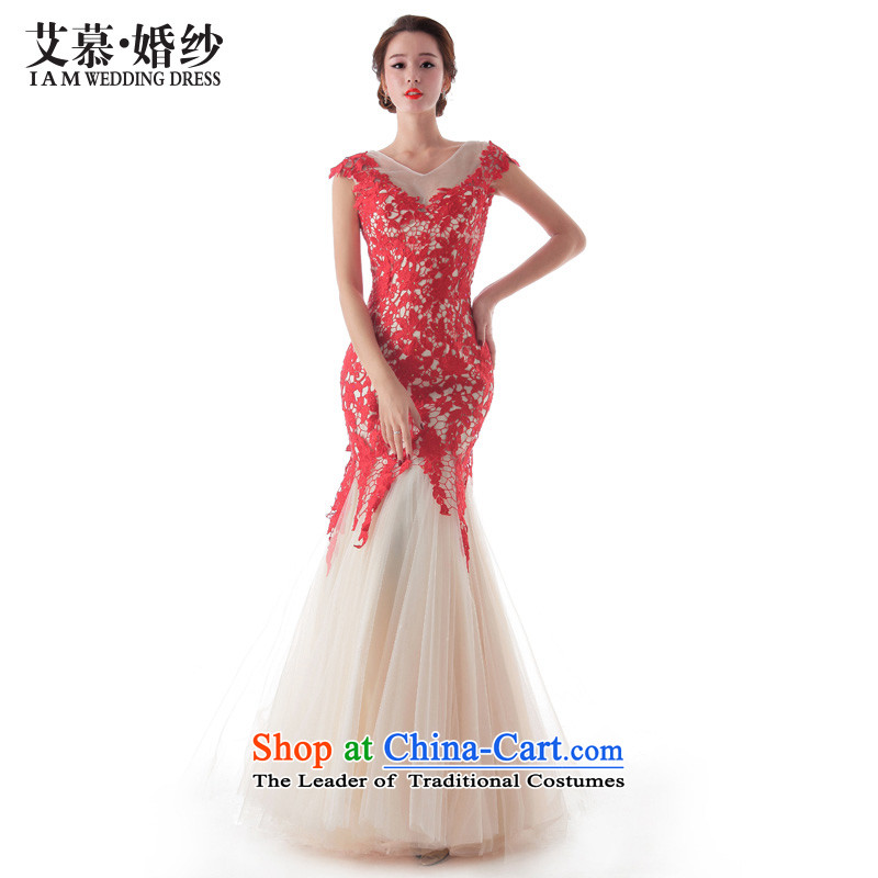 The?2015 new HIV-hsia chestnut red lace crowsfoot shoulders nude bows to drop off service wedding ceremony RED?M