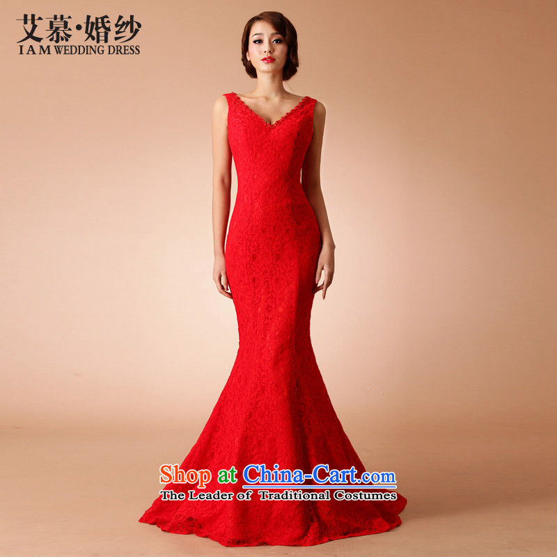 The�2015 new HIV wedding Yu Beauty Chinese qipao small red drag improved end crowsfoot married lace RED�M
