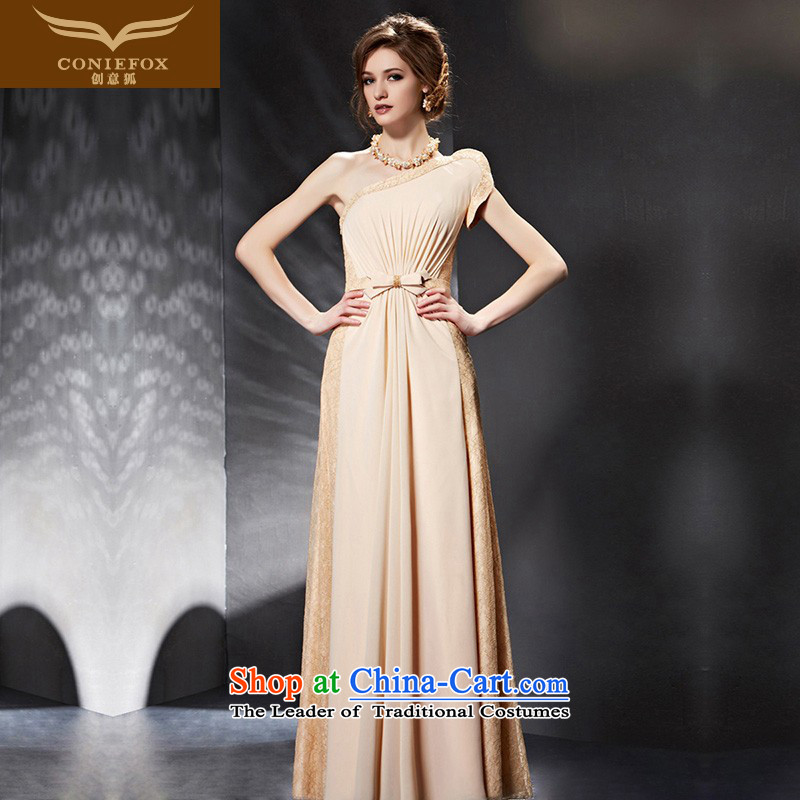 Creative Fox evening dresses�2015 new shoulder bridesmaid dress long Sau San Toastmaster of dress bride bows service wedding dress 30665 picture color�XXL