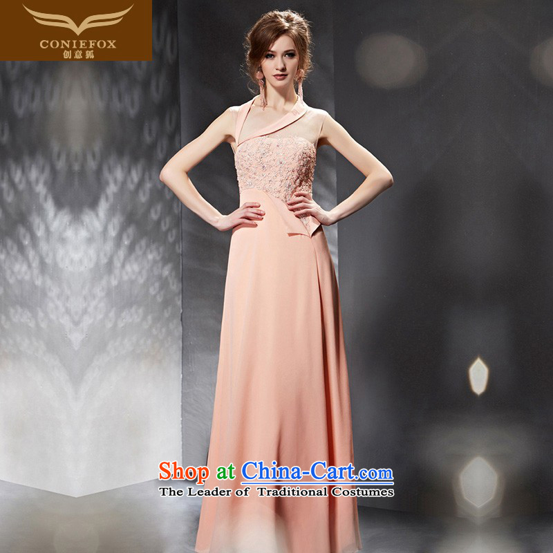 Creative Fox evening dresses�2015 new lace back evening dress) evening and slender graphics dress skirt banquet bows to the moderator dress 30666 color picture�XL