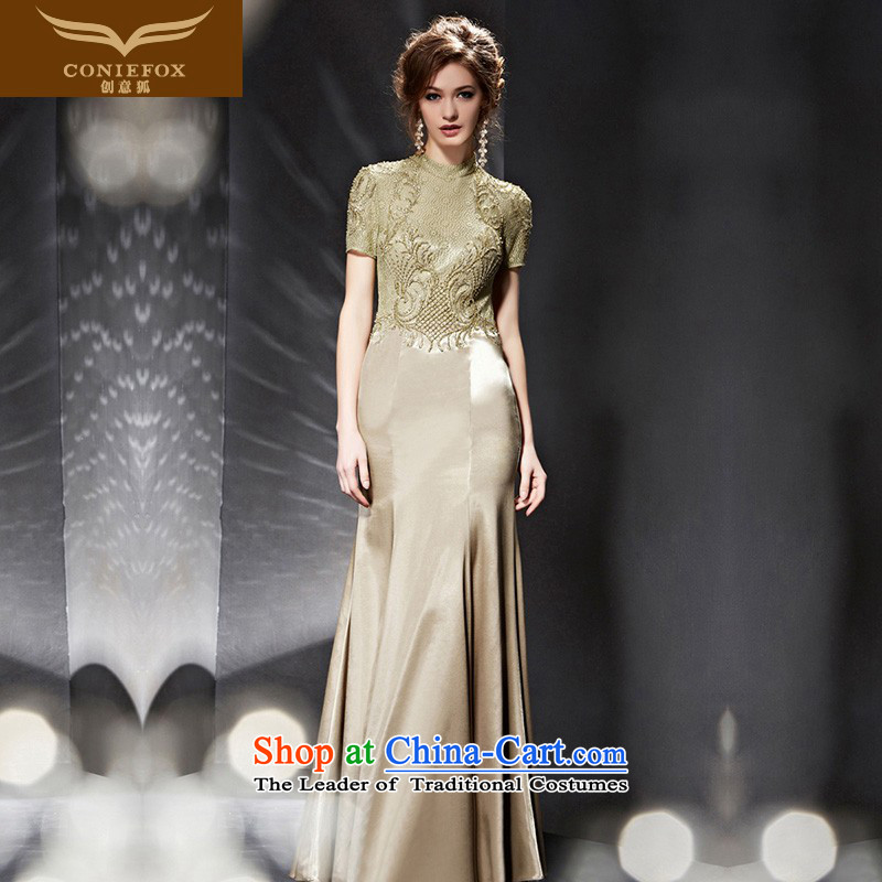 Creative Fox evening dresses?2015 new women's evening dresses long dresses banquet hosted the annual meeting of the Sau San evening dresses dress uniform 30692 color photo of bows?XL