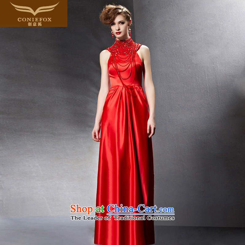 Creative Fox evening dresses�2015 new red bride wedding dress evening drink service wedding dresses long skirt evening dress�30823�picture color� XXL