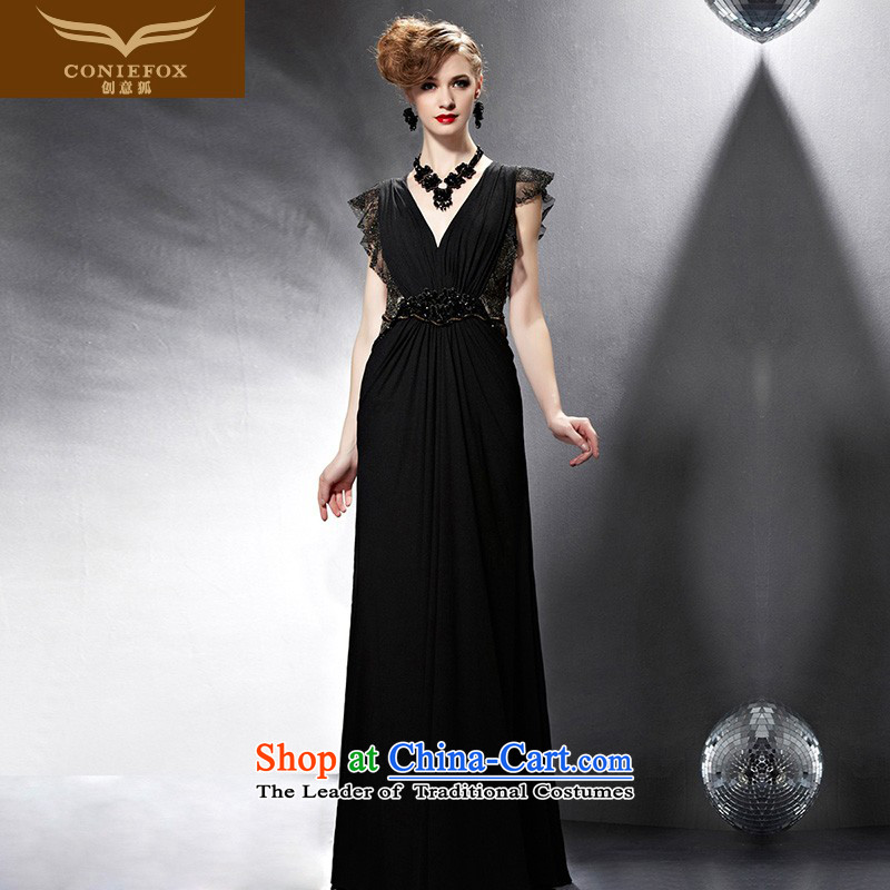 Creative Fox evening dresses 2015 New banquet dress black bows service long skirt evening dress Sau San sexy V-Neck evening dress long skirt 81,900 pictures color M