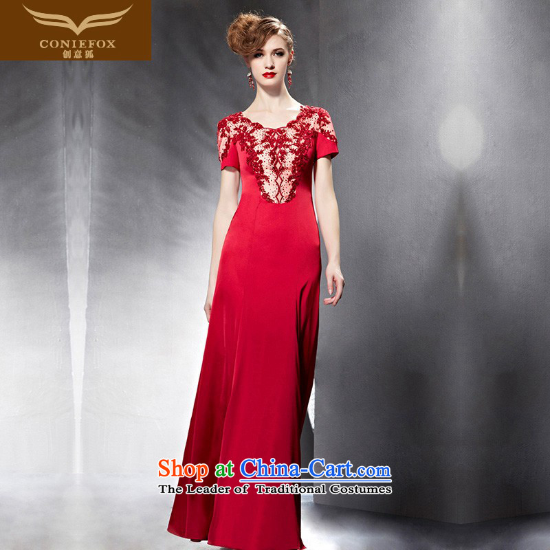 Creative Fox evening dresses 2015 new red bride wedding dress banquet bows service long Sau San bridesmaid dress 82052 color pictures under the auspices of dress M