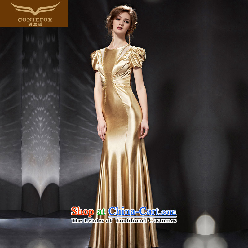Creative Fox evening dresses�2015 new sleek gold evening dresses banquet service long   bows bridesmaid dress Top Loin of evening dresses 82053 picture color�L