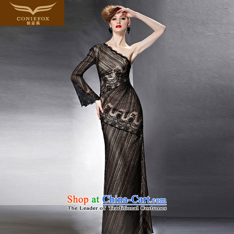 Creative Fox evening dresses�2015 new black dress banquet long single shoulder lace dress skirt bows services under the auspices of marriage dress female 82061 picture color�XL