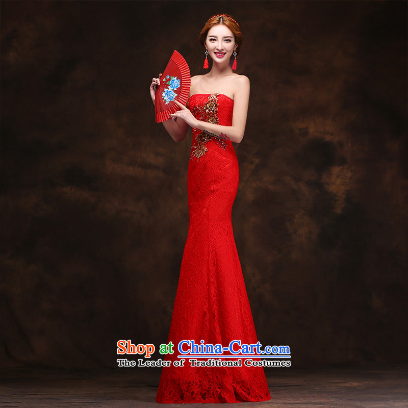 According to Lin Sha 2015 new red bows dress long evening dresses retro anointed Sau San tie dresses chest crowsfoot�XL