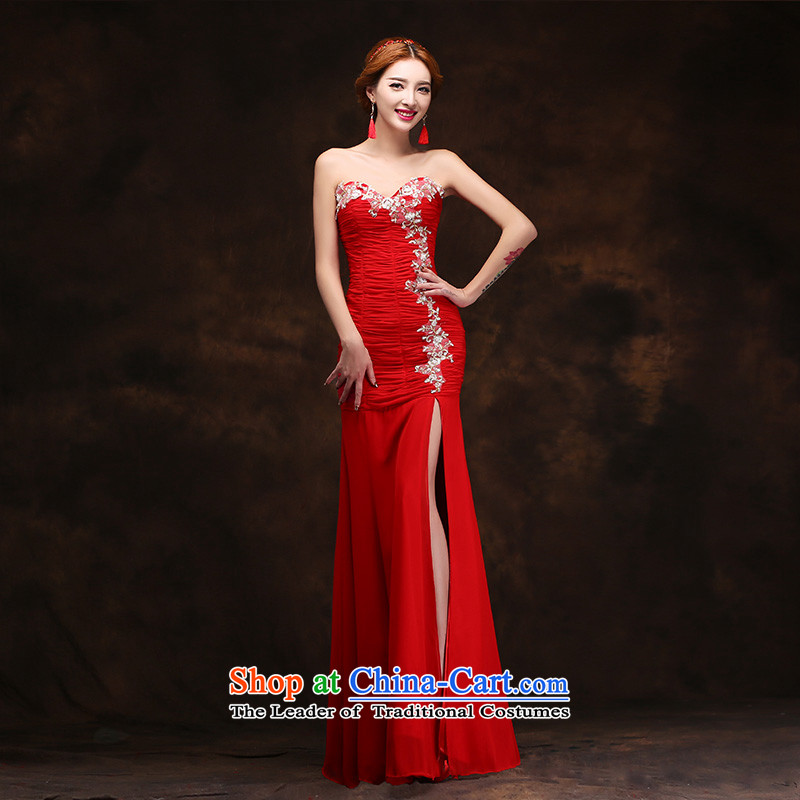 According to Lin Sha bows Service Bridal Fashion 2015 Red Dress long crowsfoot Sau San anointed chest marriages of the forklift truck dress�XL