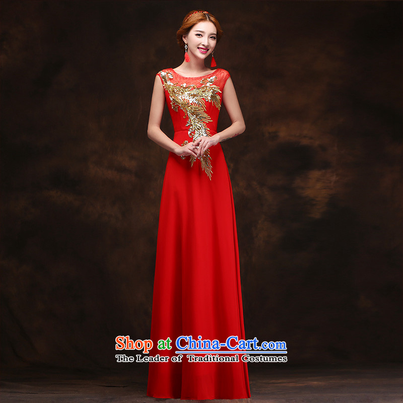 The bride dress new 2015 Red long female evening dress uniform dress bows marriage tailored consulting customer service