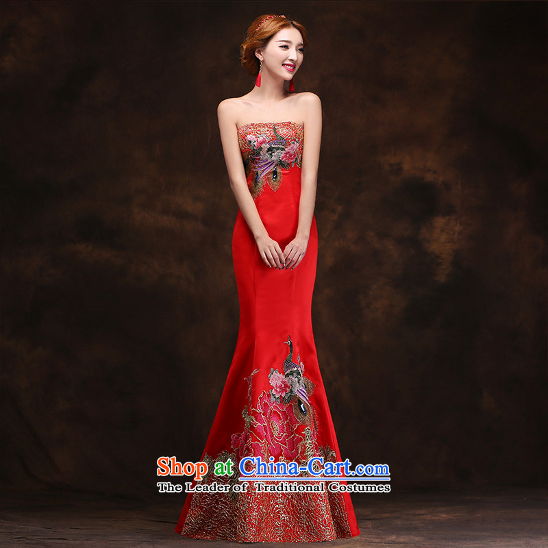 According to Lin Sa 2015 Spring New crowsfoot dress Korean long drink service     bride red retro China wind evening dresses tailored consulting customer service