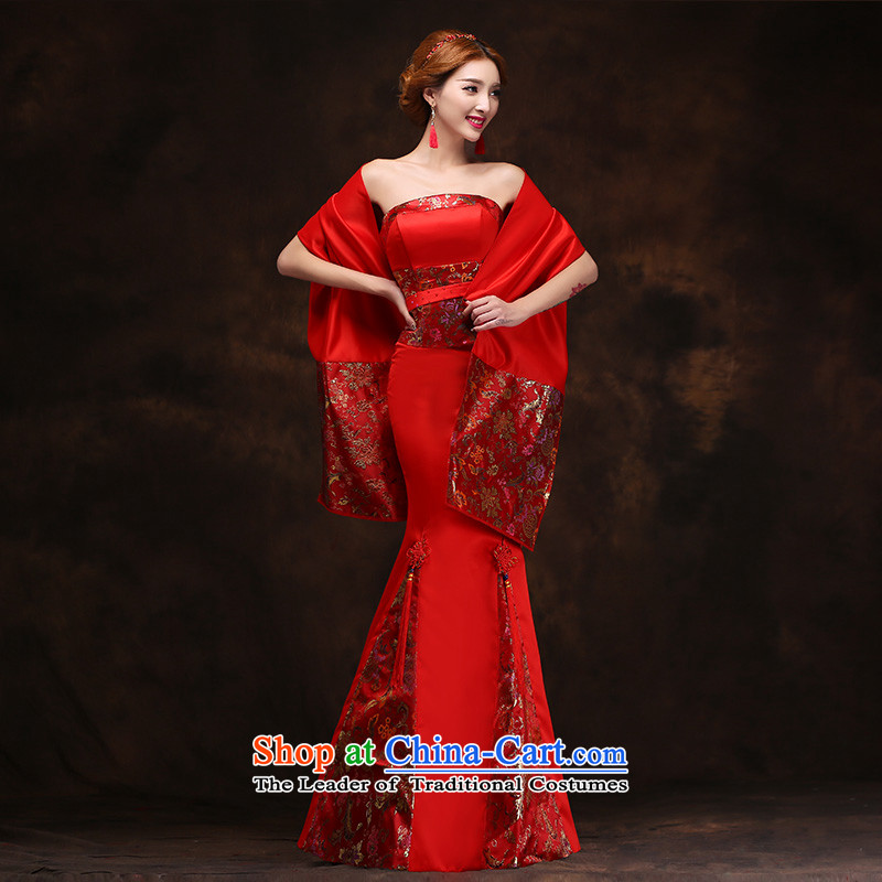 According to Lin Sha 2015 new autumn and winter clothing long red bows with Neck Cape wedding dress bridal dresses marriage evening?M
