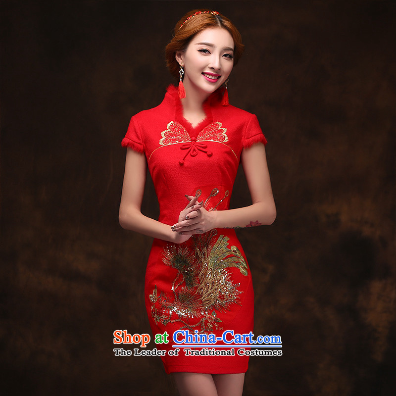 2015 Spring New Red bride wedding dress bows services improved gross?) cheongsam dress short tailored consulting customer service