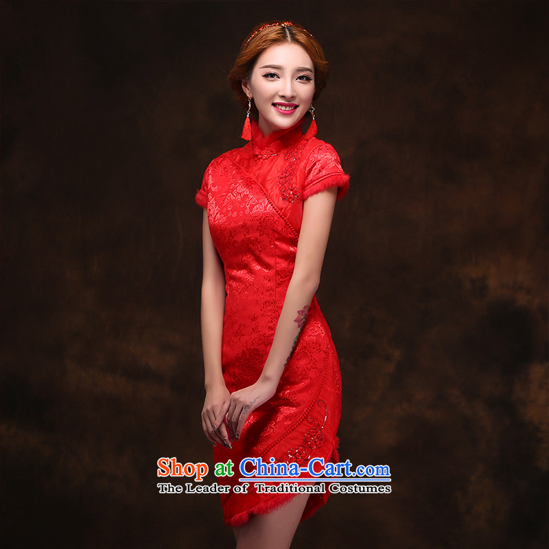 2015 Spring New Red short of qipao marriages bows banquet wedding dress bride back door onto dress�L
