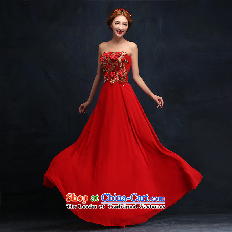 2015 new stylish flowers and chest Sau San evening dress bride wedding dress red bows service long�XL