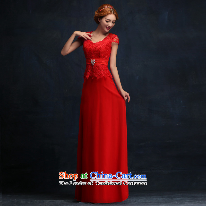 However Service Bridal Fashion 2015 Red Dress long word   crowsfoot shoulder bride wedding dress according to Lin Sha.... XL, online shopping