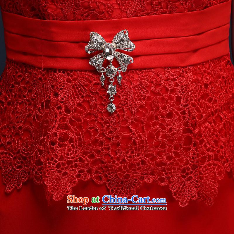However Service Bridal Fashion 2015 Red Dress long word   crowsfoot shoulder bride wedding dressaccording to Lin Sha.... XL, online shopping