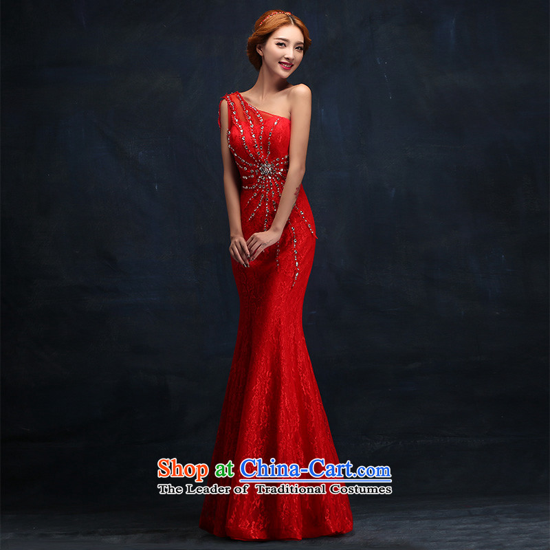 2015 WINTER NEW GRAPHICS thin stylish evening dresses red marriages upscale dress bows services long�XL