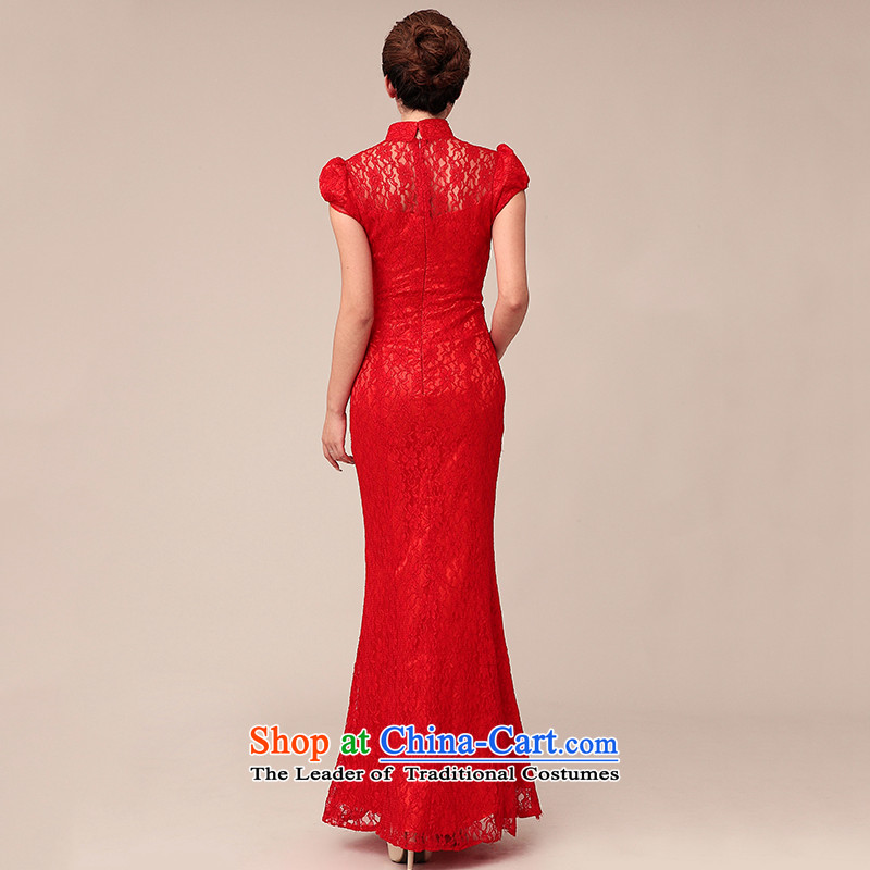 The 2015 new HIV 310001 Chinese cheongsam dress red lace long crowsfoot bride Annual Meeting at the large red L, bows to improve HIV shopping on the Internet has been pressed.