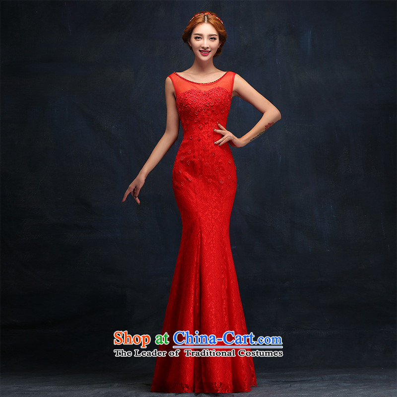 2015 new wedding dresses package and bride long dresses crowsfoot slotted shoulder bows services red lace dress�L
