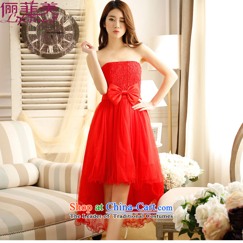 Li and the spring and summer stylish wedding bows and chest short high-lumbar bridesmaid sister mission before the dress short long after dovetail red chiffon bridal dresses small dress code red are? suitable for 78-110 F Jin