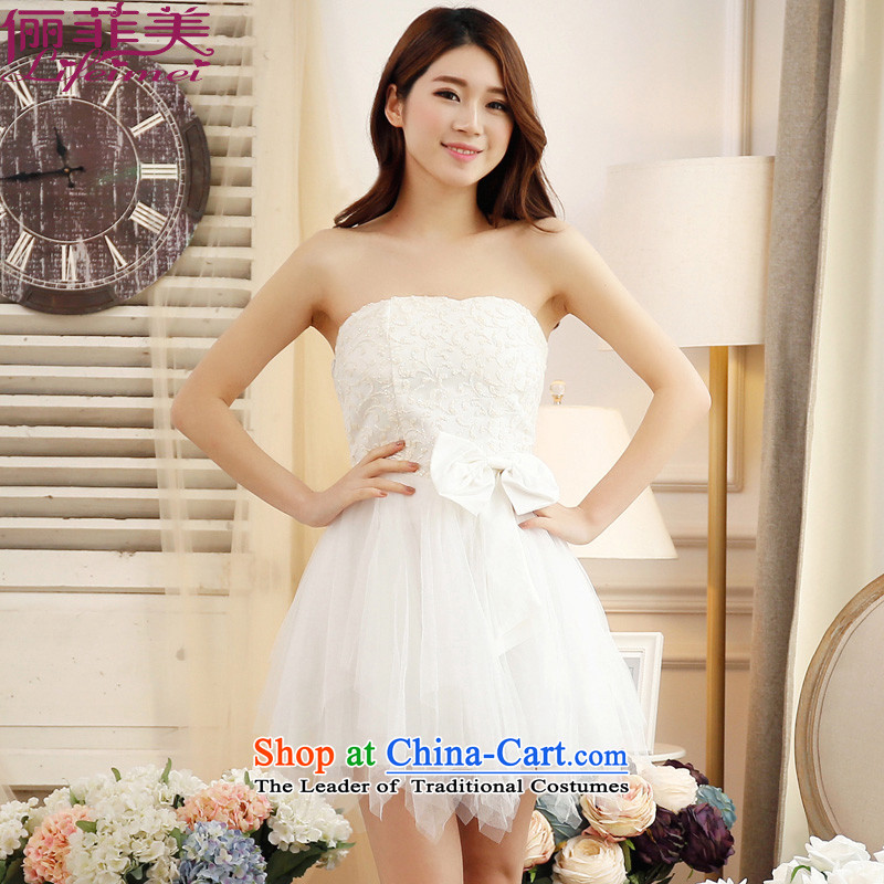 Li and the Summer Wedding Fashion wedding services and chest short bows of bridesmaid sister mission dress chest pearl high waist dress dresses white are Code� F