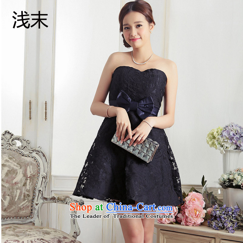 The end of the light (MO) chest anointed QIAN water-soluble lace bow ties small dress Foutune of dress dresses 3373 dark blue�L