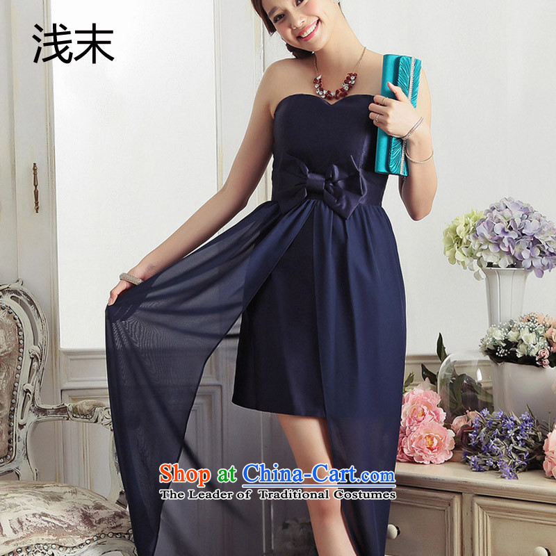 The end of the light (MO) QIAN aristocratic temperament and chest bow tie gliding tail evening dresses long small dress dresses 3378 dark blue�XXL