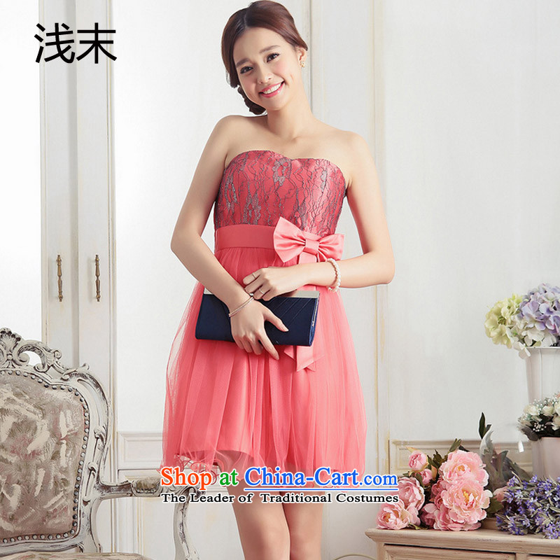 The end of the light (QIAN MO) sweet lady anointed chest lace activities bow tie bon bon small dress suit skirt dresses�3372�Orange red are code