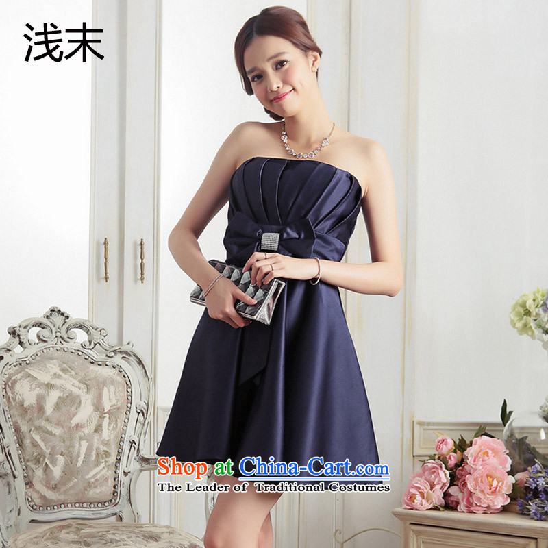 The end of the light (MO) Sweet Princess QIAN creases anointed chest diamond bow ties small dress�A dress apron skirt 3376 dark blue�L