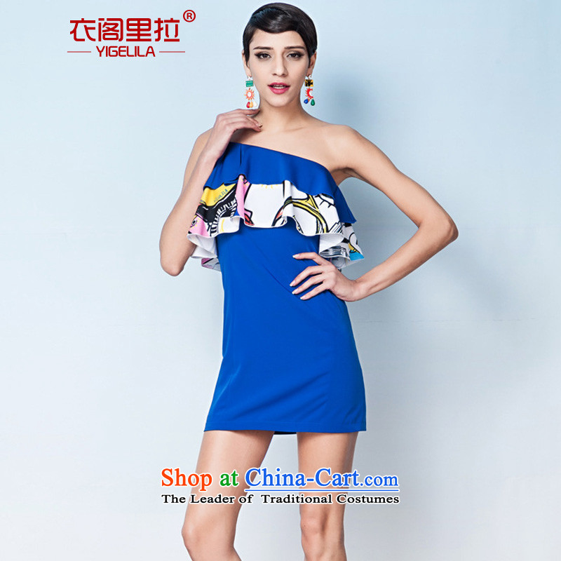 Yi Ge lire aristocratic temperament Beveled Shoulder straps Sau San video thin banquet dress dresses Blue 6602 S, Yi Ge Liras (YIGELILA) , , , shopping on the Internet