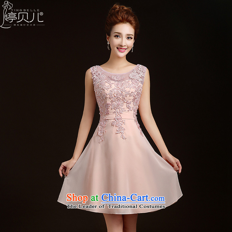 Beverly Ting bridesmaid dress 2015 new spring short of marriages stylish bows dress sister skirt evening dress wedding dresses Sau San pink?M