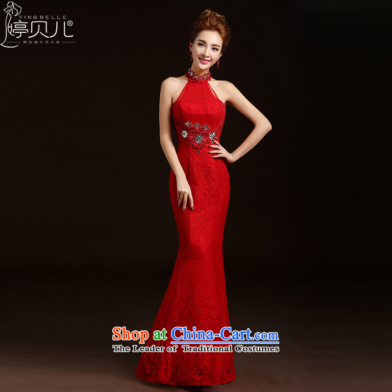 Beverly Ting bows services 2015 new stylish spring and summer bride wedding dress CHINESE CHEONGSAM long red dress Sau San autumn and winter RED?M