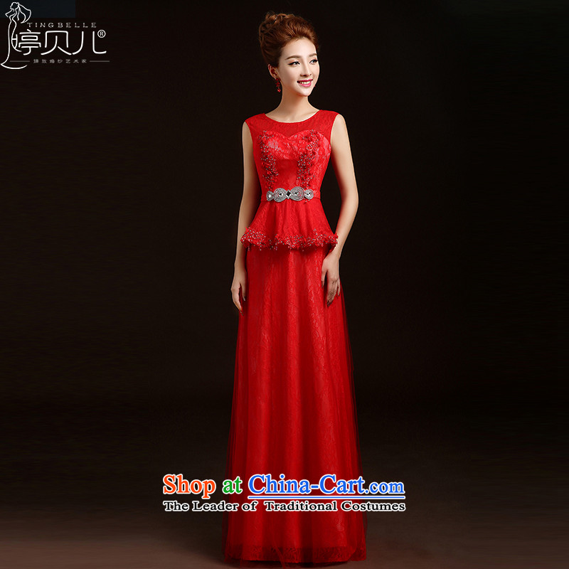 Beverly Ting wedding dresses new 2015 new spring and summer bride girl marries long red bows dress shoulders evening dresses red聽L