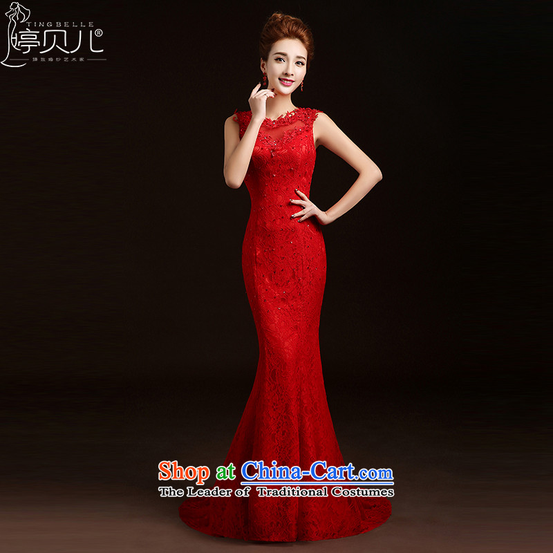 Beverly Ting bows Service Bridal Fashion New Spring/Summer 2015 Red Dress long marriage of autumn and winter lace evening dress Sau San Female Red�XXL