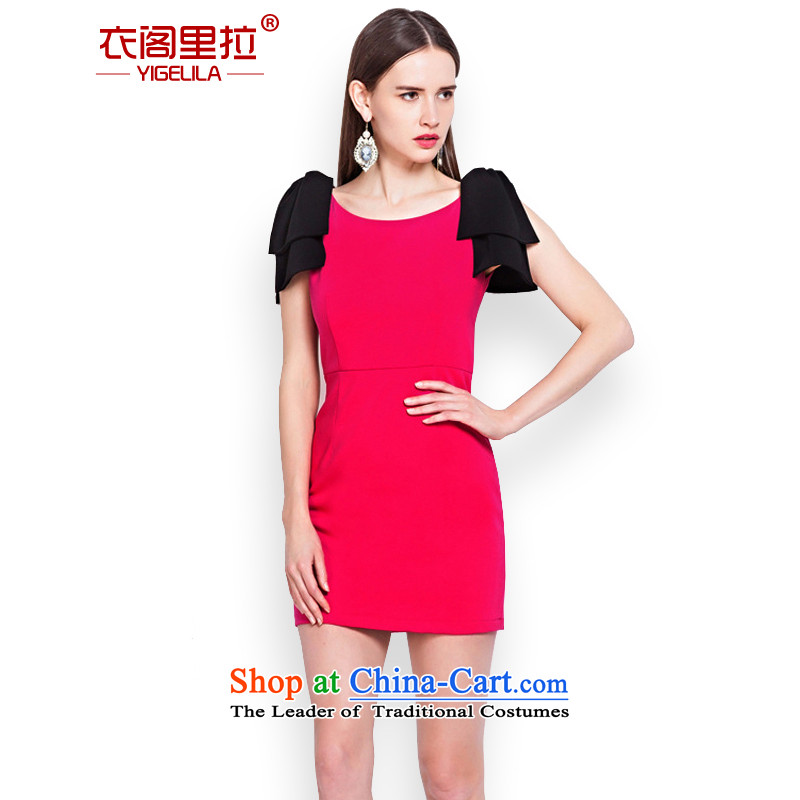 Yi Ge lire aristocratic ladies bow tie knocked color stitching back door onto the gathering of dress bows services small red 6576 skirt dress M