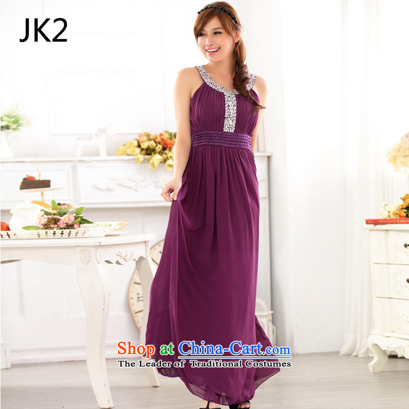 Western wind round-neck collar to manually staple large Bright Pearl River delta drilling large chiffon gown dresses JK2 9625 purple are code