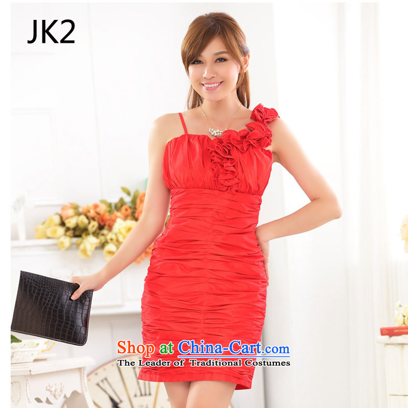 Marriage quarter stylish shoulder sister skirt dinner appointment Sau San your abdomen and package dress dresses JK2 9,722 RED?M