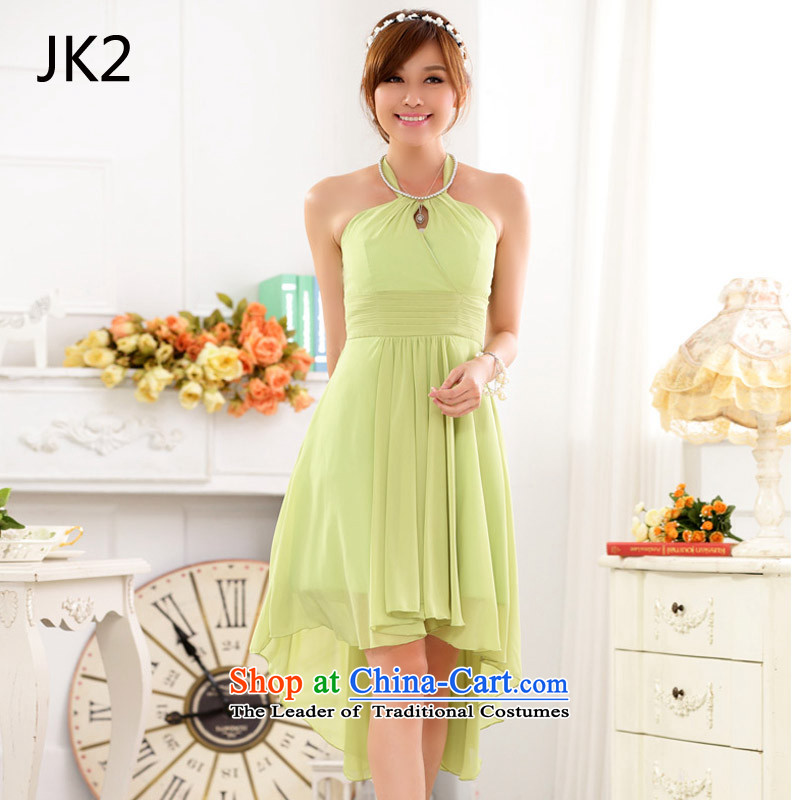 Aristocratic bare shoulders hang also sexy foutune show large chiffon dovetail dress dresses JK2 fruit green�XXXL 88-99 18