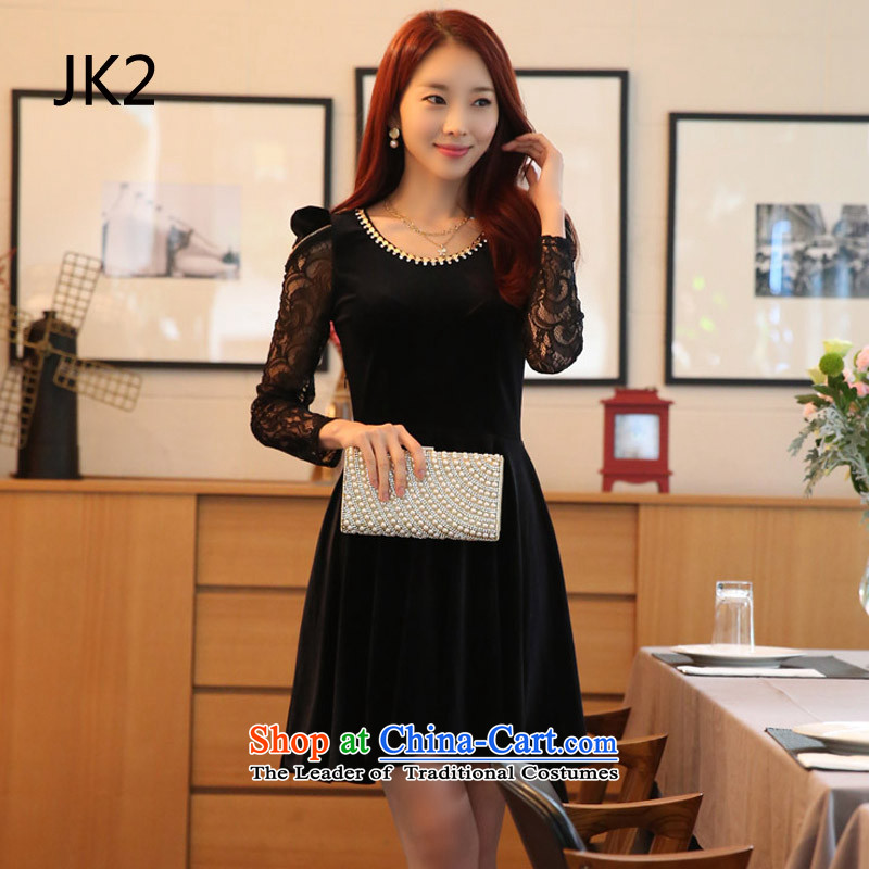 �Thin women's graphics JK2 Korean citizenry Kim velour Sau San lace long-sleeved dresses large� 9822�Black�XXXL dress