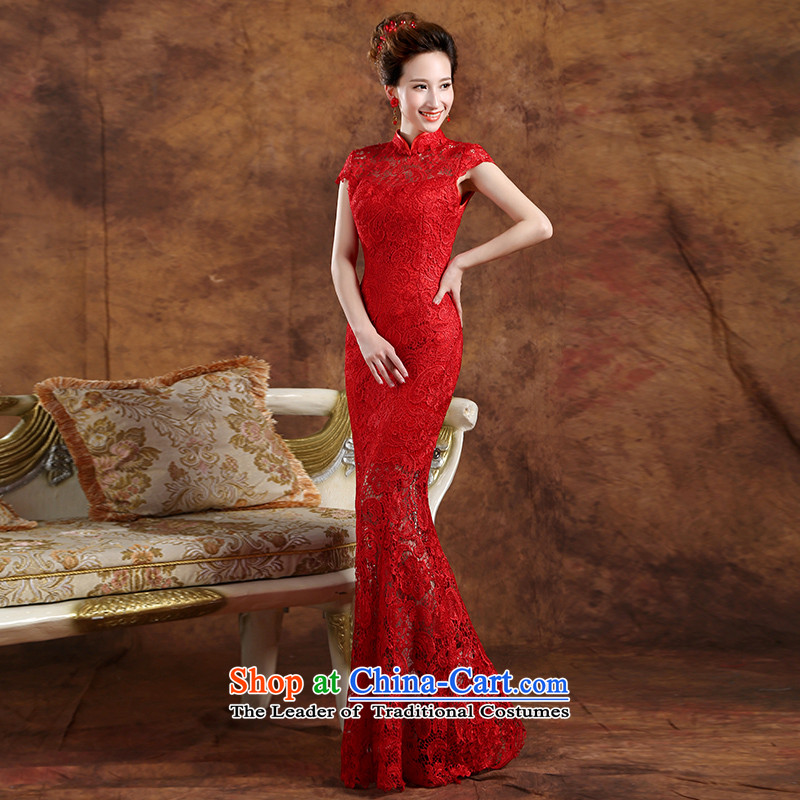 The Republika Srpska divas bows to the new Korean 2015 crowsfoot dress bride wedding dress red lace long gown zipper dress summer Sau San banquet female RED聽M long crowsfoot stealth zip_