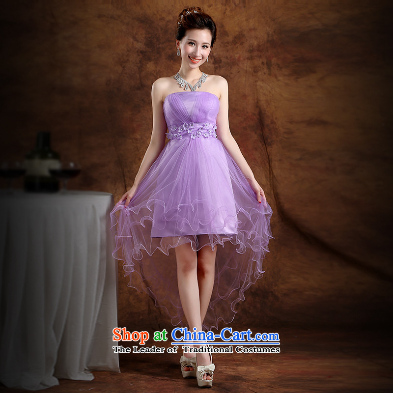 The Republika Srpska divas front stub bridesmaid service long after the summer 2015 new bride bridesmaid service wedding dress Top Loin of Sau San anointed chest sin gas purple bridesmaid serving evening dress with a light purple L to the necklace earring