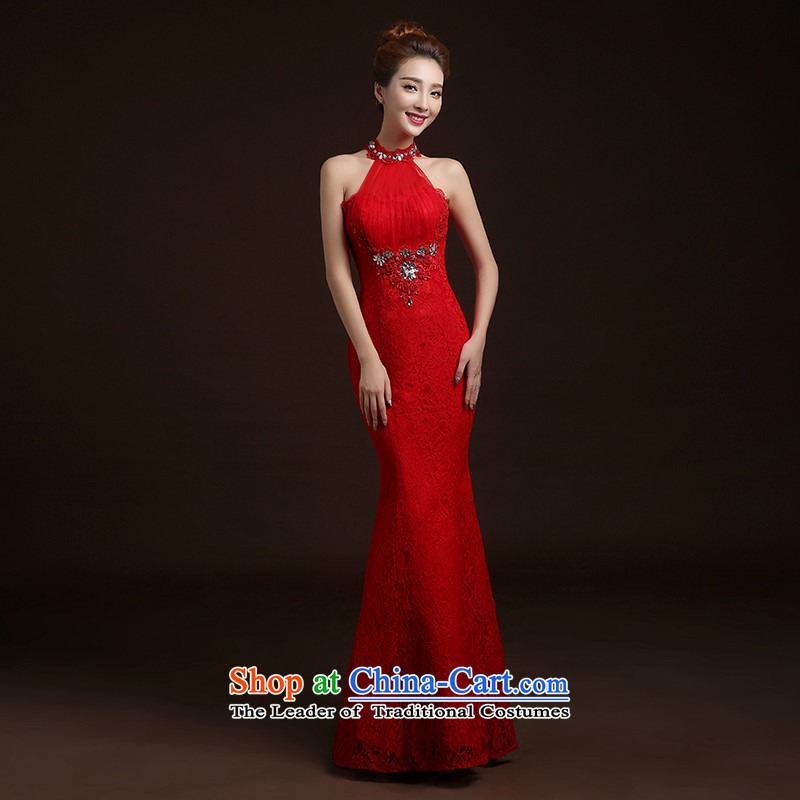 The Republika Srpska divas long autumn 2015 new bride bows and breast height back to Sau San To align graphics thin crowsfoot marriages bows evening dresses female RED?M High lace elegant and comfortable)