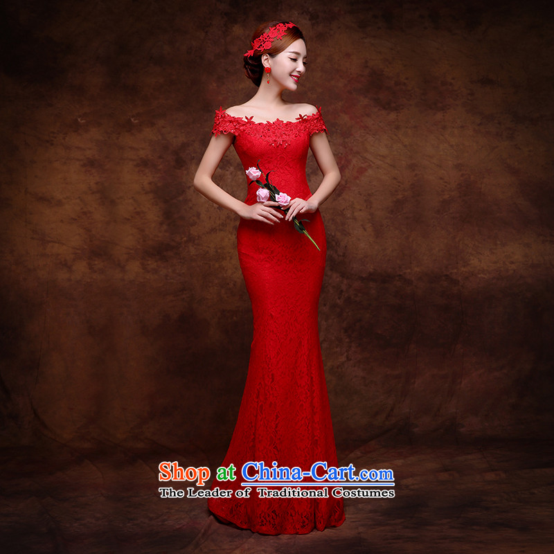 The Republika Srpska divas long autumn 2015 new bride services shoulder the word bows Sau San design graphics thin evening dresses lace larger dresses female red聽XL_ upscale lace elegant and comfortable_