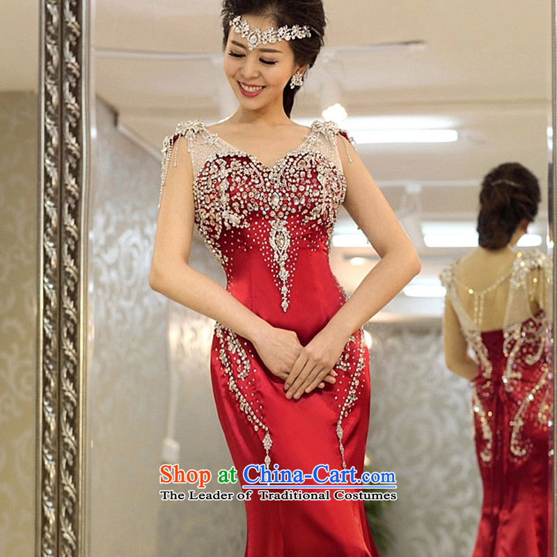 Pre-sale - wedding dresses Kyrgyz-american married arts 2015 new shoulders Korean tail 971 luxury water drilling bridal dresses wine red�XS