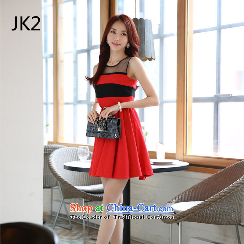 Korean Foutune of large skirt wear shoulder to Kampala skirt Large Tri-color code dresses rammed the skirt JK2 V. ADOPTION OF RED�XXXL