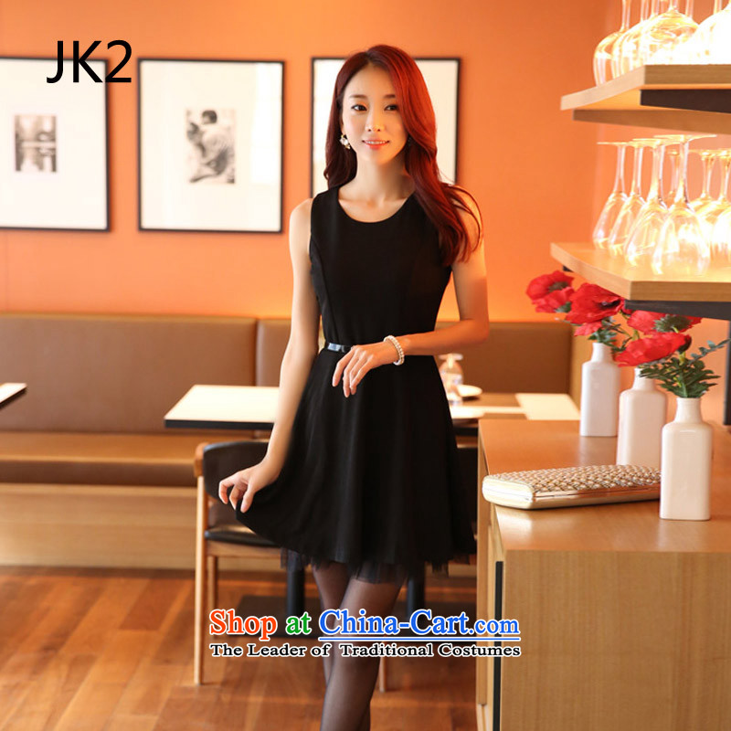 The Korean version of the black round-neck collar at shoulder vest skirt wear skirts large video thin large swing dress dresses with belts) JK2 9920 Black XXL