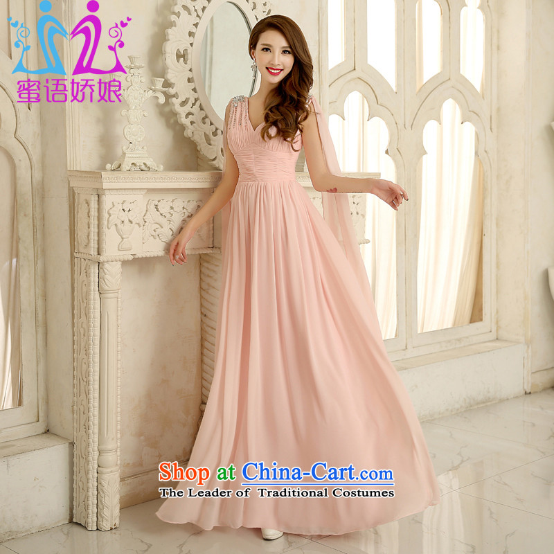 Talk to the annual meeting of the Han version under the auspices of dress bare pink shoulders V-Neck long women's dresses 2015 New Princess evening dress Yuk-pink?S