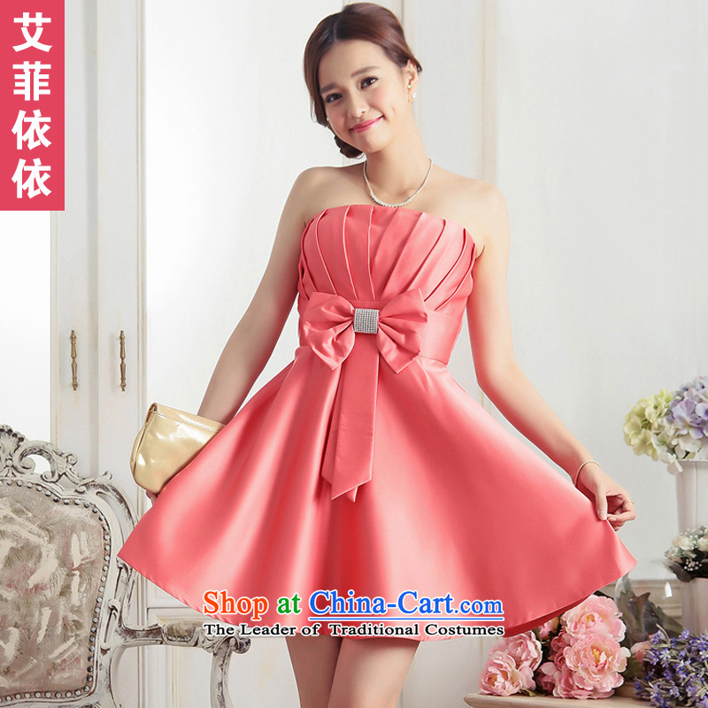 Glued to the Eiffel Bow Tie large small Dress�Short of 2015 Korean know from tonight breast pinch bride bridesmaid chaired the skirt 5587 ORANGE�XXL code