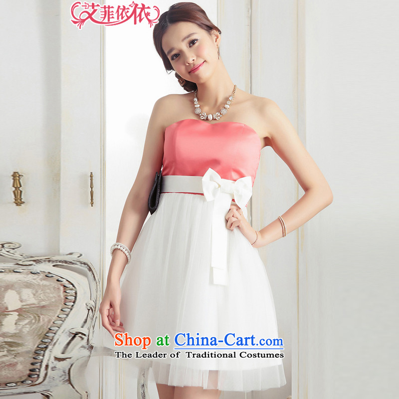 Of the glued to the chest and bon bon gauze?2015 Korean small dress new short, under the auspices of aristocratic bride bridesmaid bows bow tie dresses 5588 ORANGE?XL code