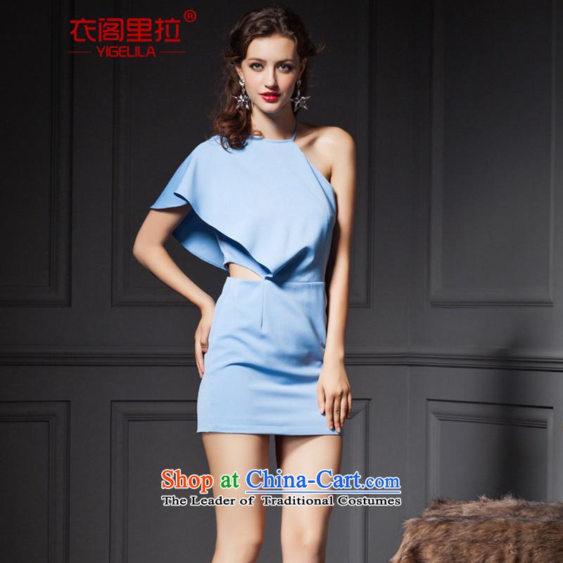 Yi Ge lire aristocratic temperament single strap Sau San video thin banquet dress dresses Blue 6667 S
